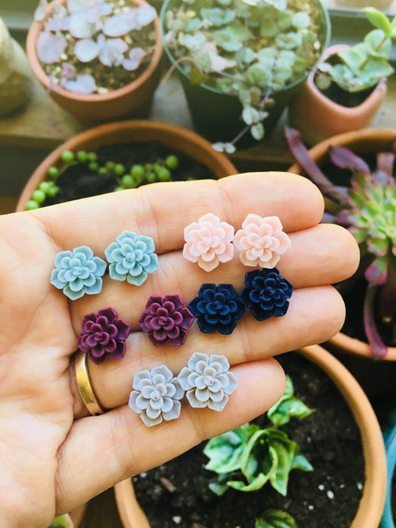 Succulent Bridesmaids Earrings Botanical Garden Wedding image 0