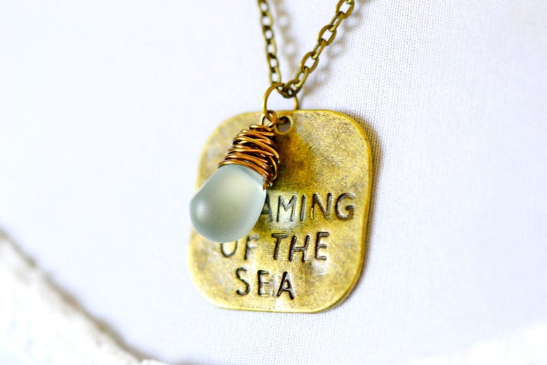 Dreaming of the Sea Dog Tag Necklace Stamped Charm Aqua Jewel image 0