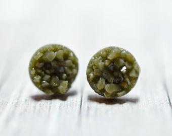 Tiny Green Druzy Earrings, Dark Olive Green Druzy Studs, Camo Earrings, Dark Sage Green Druzy Stud Earrings, 8mm Rounds, Stainless Steel