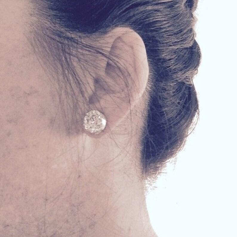 Ebony Wedding Jewelry 12mm Round Jet Black Studs Black Druzy Bridesmaids Earrings