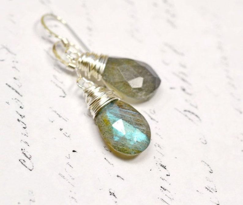 Flash Labradorite Earrings Gray Gemstone Earrings Wire Wrap image 0