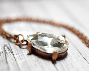 Antique Rhinestone Necklace, White Rhinestone in Antiqued Copper Setting, Teardrop Solitaire Pendant, Old Hollywood Glam Jewelry