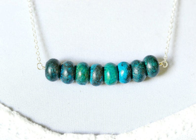 Chunky Turquoise Blue Necklace Ocean Blue Beaded Statement image 0