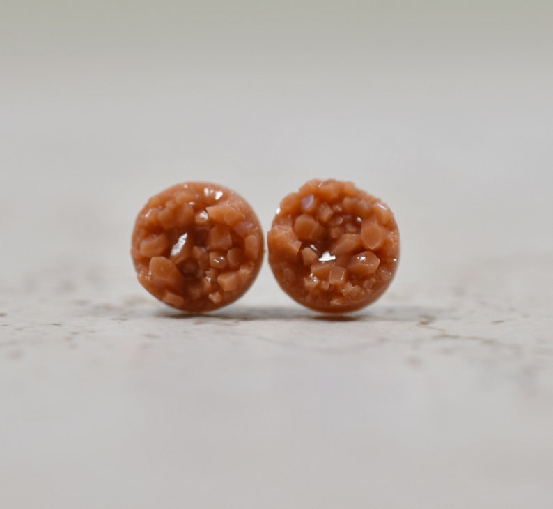 Small Studs Umber Earrings Sepia Colored Tiny Druzy Earrings Cinnamon Druzy Earrings Orange Brown Faux Druzy Jewelry 8mm Size