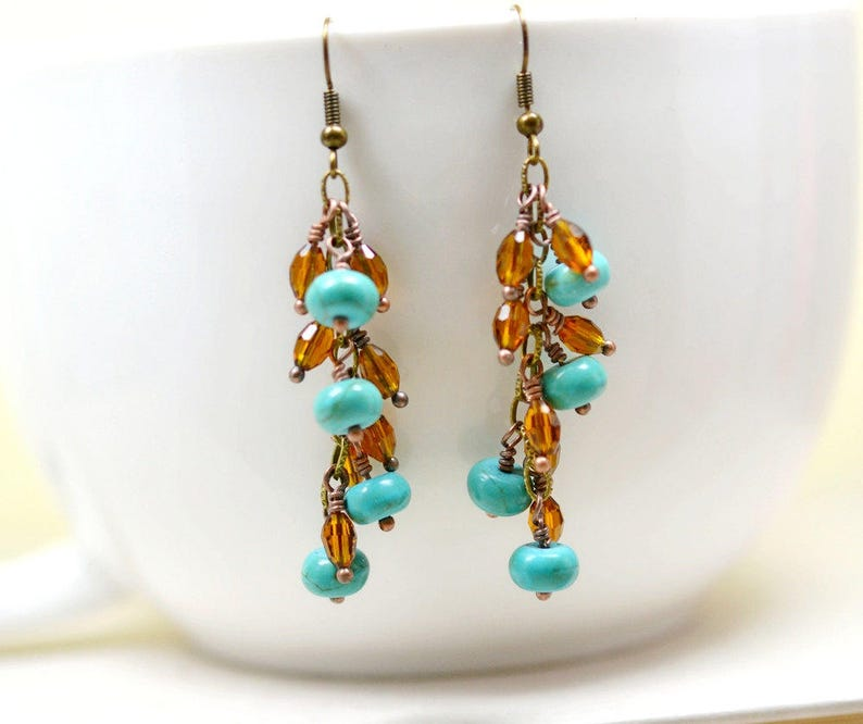 Bohemian Chandelier Earrings Boho Turquoise Blue and Brown image 0