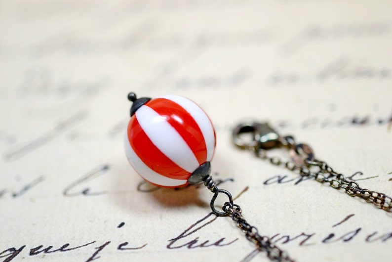 Peppermint Candy Necklace Red and White Striped Candy Cane image 0