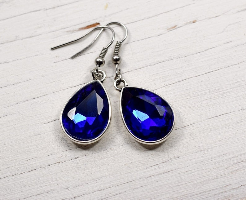 Cobalt Blue Crystal Earrings Sapphire Blue Rhinestone image 0
