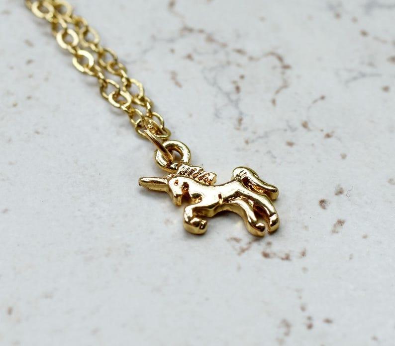 Tiny Unicorn Necklace Small Gold Unicorn Charm Magic Golden image 0
