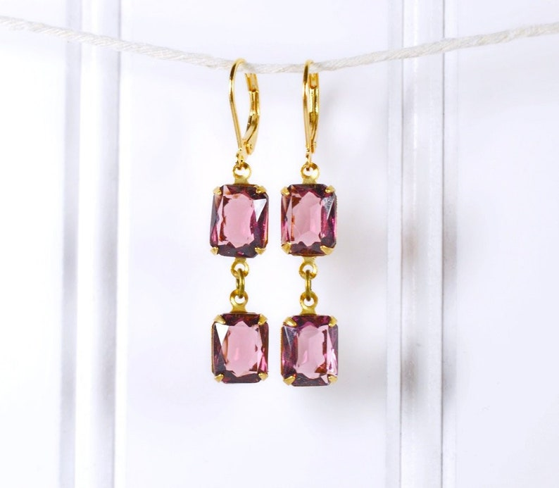 Purple and Gold Dangle Earrings // Amethyst Rhinestone Drops image 0