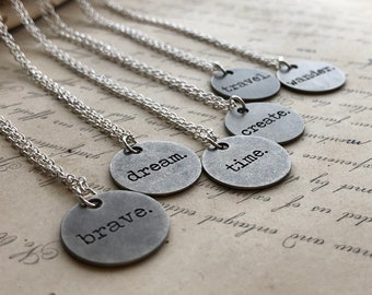 Mantra Necklace, Word Intention Necklace, One Word Text Charm, Typed Text, Word Jewelry, Stamped Charm, Typeface, Round Disc
