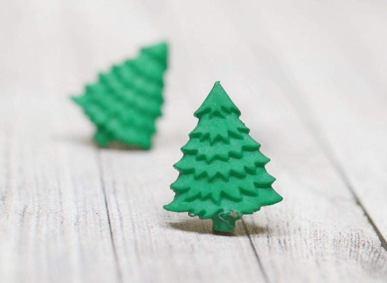 Tiny Green Christmas Tree Earrings Green Winter Holiday image 0