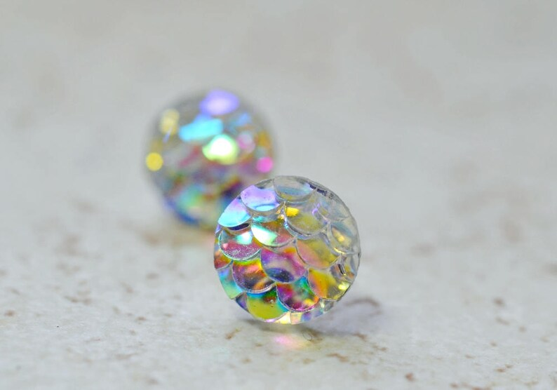 Tiny Rainbow Mermaid Earrings 8mm Iridescent White Mermaid image 0