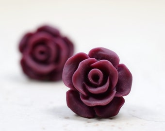 Burgundy Rose Earrings, Cottage Chic Vintage Style, Dark Wine Maroon Boho Chic Studs Plant Lovers Garden Gift Ideas