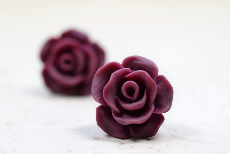 Burgundy Rose Earrings Cottage Chic Vintage Style Dark Wine image 0