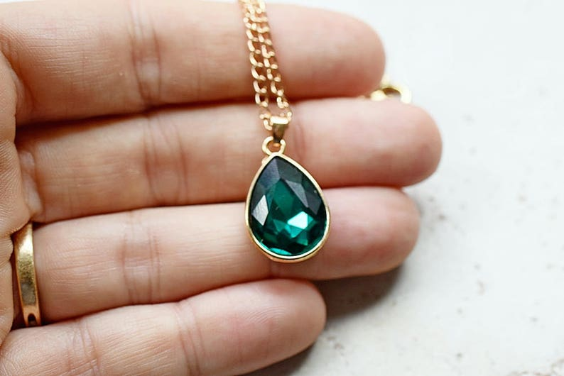 Emerald Green Necklace Green Rhinestone Teardrop Pendant image 0