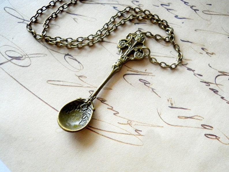 Antiqued Spoon Necklace Spoon Charm Necklace Kitchen Gifts image 0