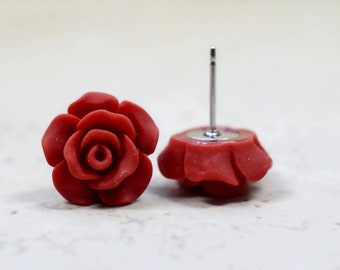 Red Rose Earrings, Cottage Chic Vintage Style, Dark Red Boho Chic Studs Plant Lovers Garden Gift Ideas