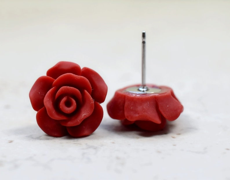 Red Rose Earrings Cottage Chic Vintage Style Dark Red Boho image 0