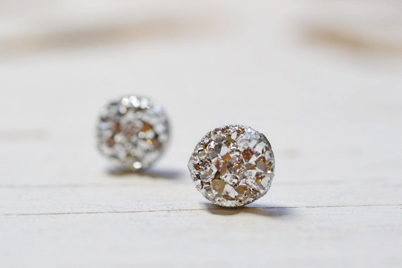 TINY DRUZY STUDS METALLIC DRUSY 6mm Posts stainless steel,bright//multi-color