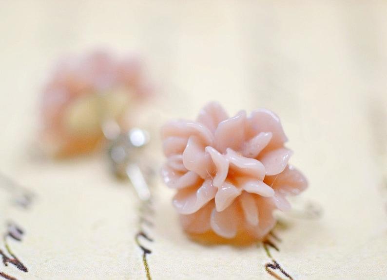 Mauve Flower Earrings Pastel Ruffles Floral Studs Retro image 0