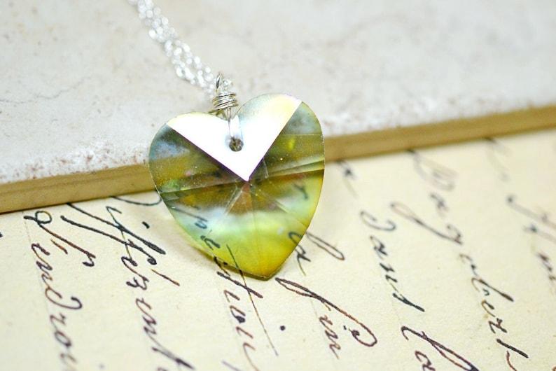 Sage Green Heart Necklace Hemlock Green Heart Crystal image 0