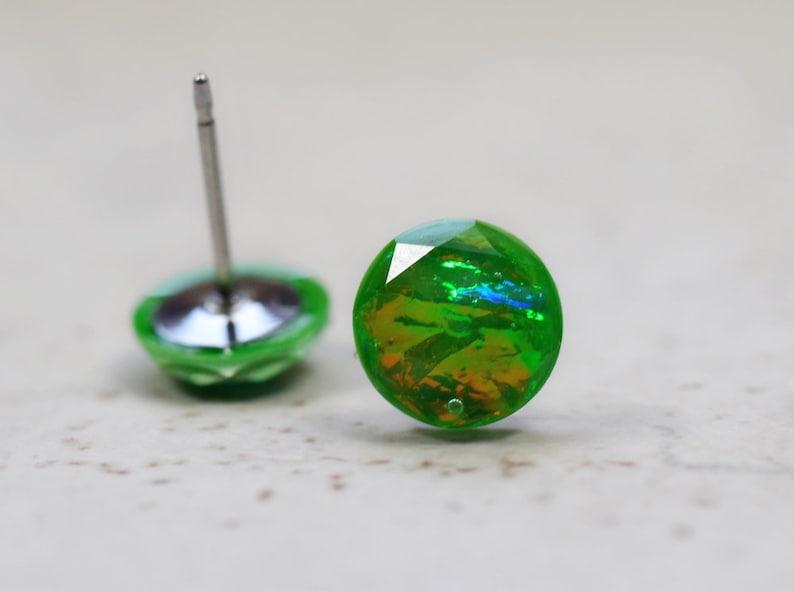 Tiny Green Fire Opal Earrings 8mm Faux Opal Post Earrings image 0