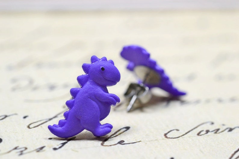 Purple Dinosaur Earrings T-Rex Tyrannosaurus Rex Cute Dino image 0