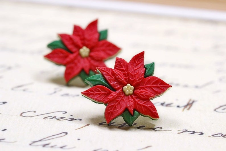 Large Red Poinsettia Earrings Christmas Jewelry Holiday image 0
