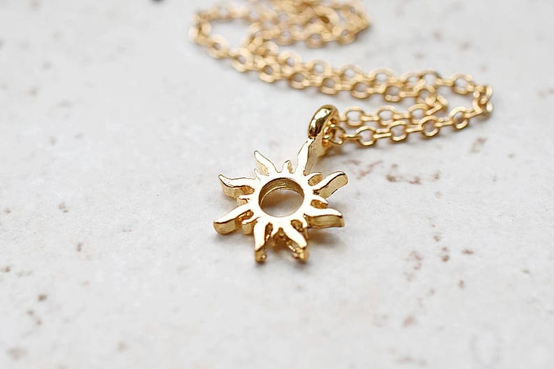 Tiny Gold Sun Necklace Small Golden Sunshine Charm Whimsical image 0