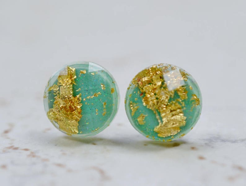 Tiny Mint Green and Gold Flake 8mm Stud Earrings Simple image 0
