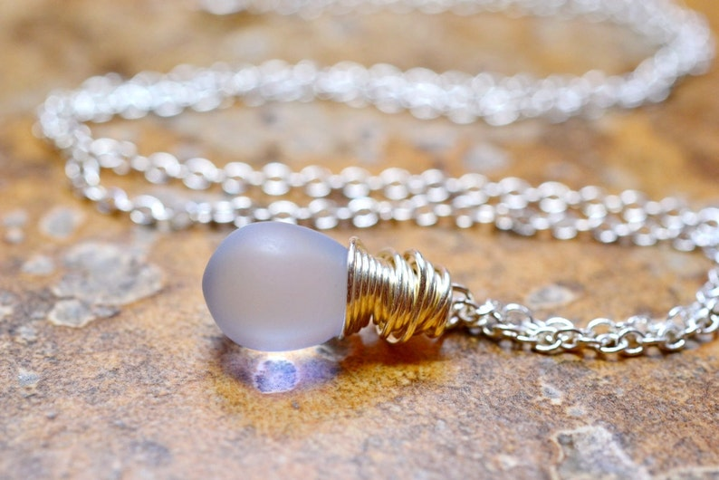 Frosted Purple Necklace Lavender Teardrop Necklace Pale image 0