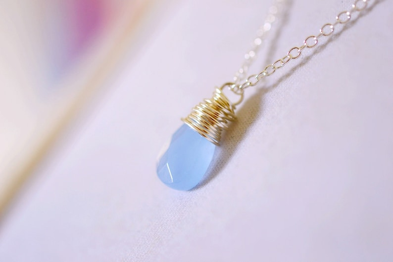 Serenity Blue Necklace Blue Chalcedony Necklace Dusk Blue image 0
