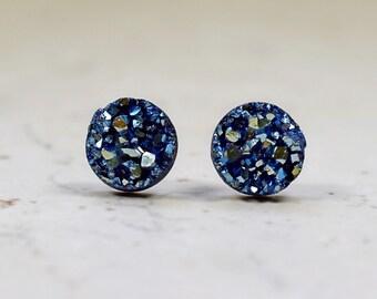 Tiny Denim Blue Druzy Earrings, 8mm Round Druzy Metallic Glitter Faux Drusy Posts Glittering Cadet Blue Stainless Steel Studs