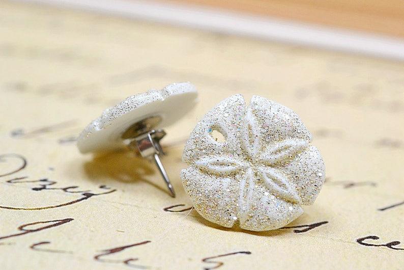 White Sand Dollar Earrings Glittery White Sand Dollars image 0