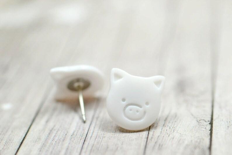 White Pig Earrings Cute Piggies Farm Animal Lovers Farmhouse image 0