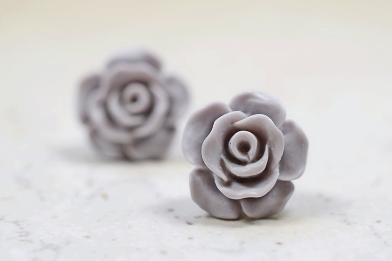 Gray Rose Earrings Neutral Colored Retro Jewelry Cottage image 0