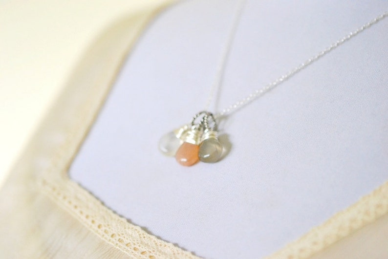 Moonstone Necklace Peach and Gray Gemstone Trio Cluster image 0