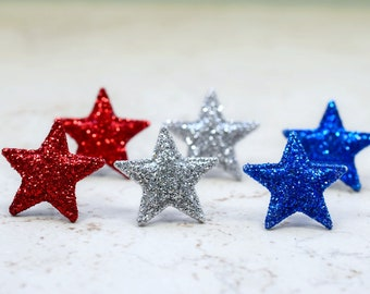 Glitter Star Earrings set of 3, Red White and Blue Earrings, July 4th Patriotic Celebration Liberty Independence Day USA Team RWB