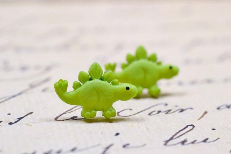 Lime Green Dinosaur Earrings Stegosaurus Cute Dino Jewelry image 0