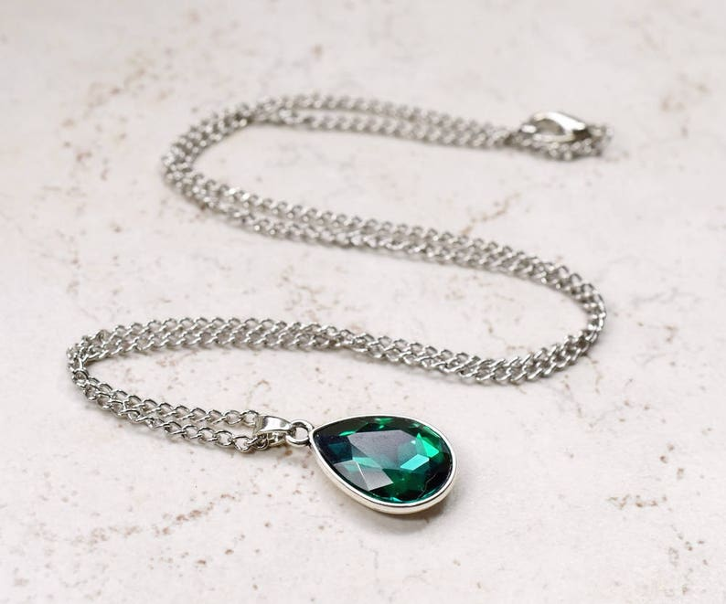 Emerald Green Necklace Green Rhinestone Teardrop Pendant image 0