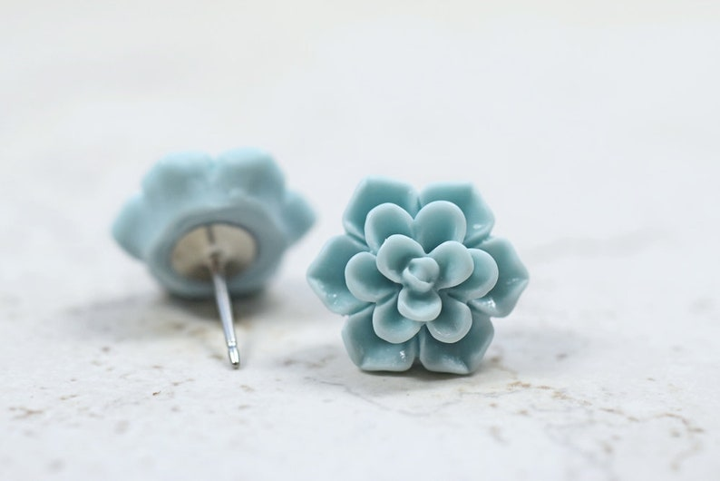 Mint Blue Succulent Earrings Botanical Jewelry Pale Minty image 0