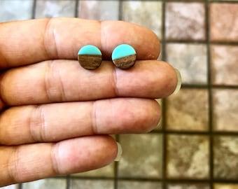 Modern Teal Wood Earrings, Teal Blue and Woodgrain Stud Earrings, Handmade Minimalist Jewelry