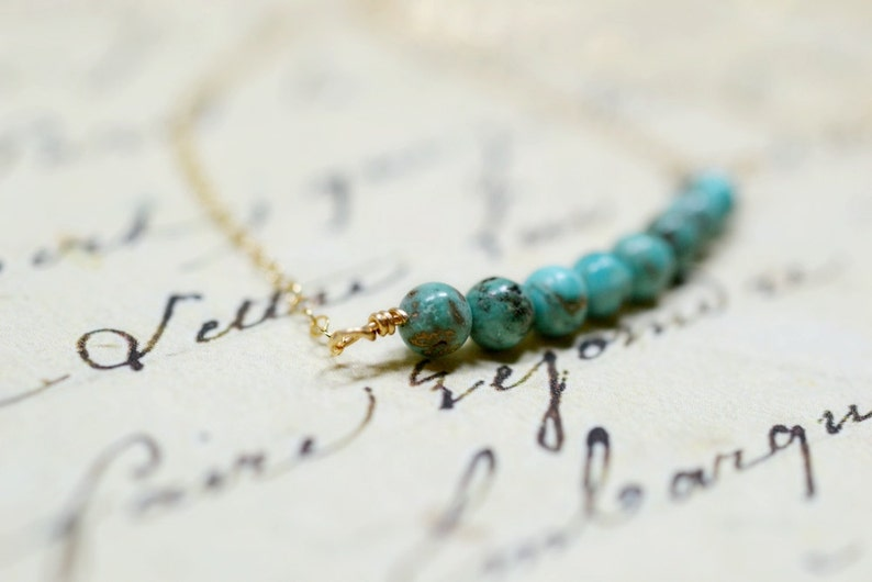 Tiny Turquoise and Gold Necklace Genuine Turquoise Beaded Bar image 0