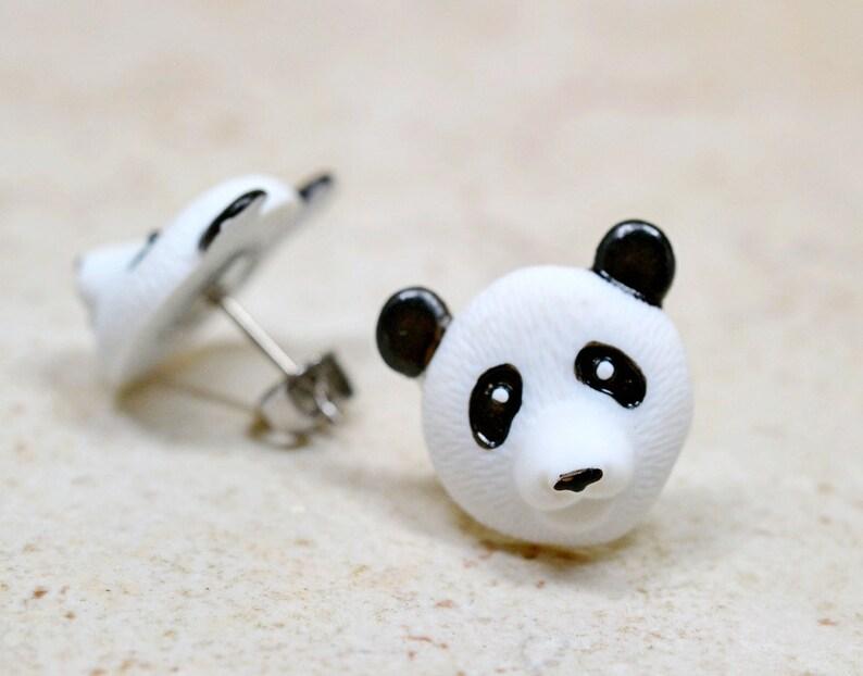 Panda Bear Earrings Adorable Black and White Pandas Cute image 0