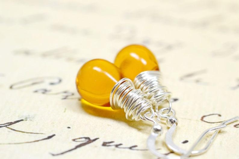 Warm Honey Yellow Earrings Amber Teardrops Wire Wrap Jewelry image 0