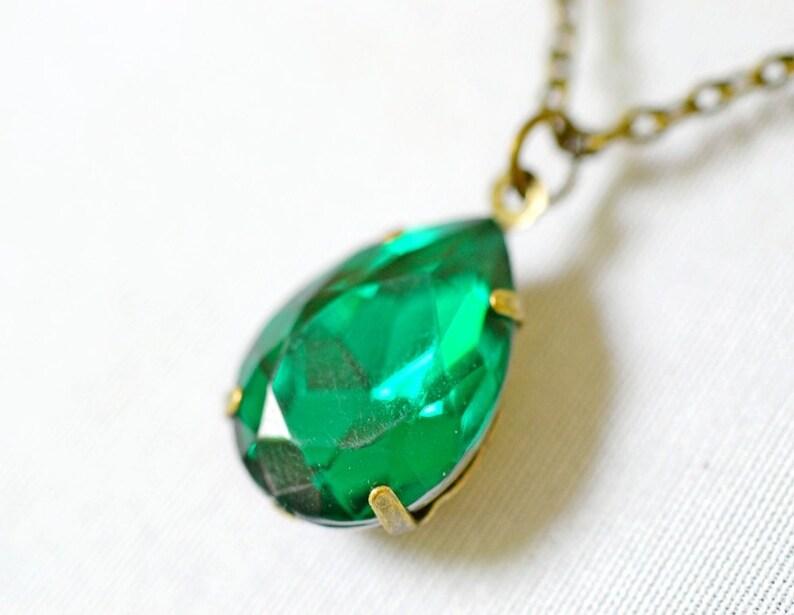 Emerald Green Estate Necklace Vintage Emerald Rhinestone image 0