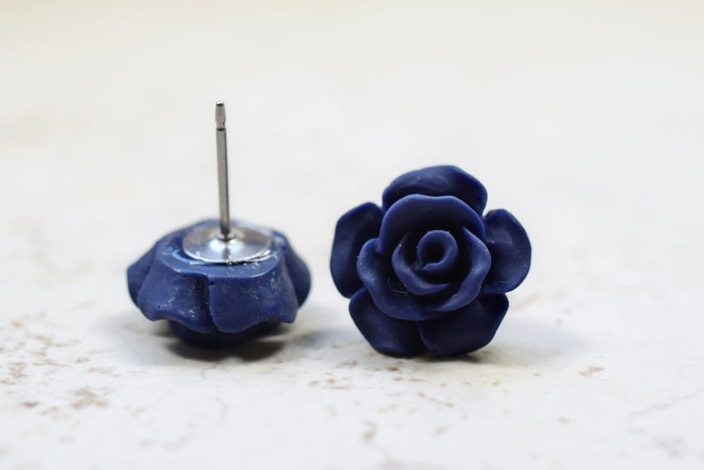 Navy Rose Earrings Cottage Chic Vintage Style Dark Navy Blue image 0