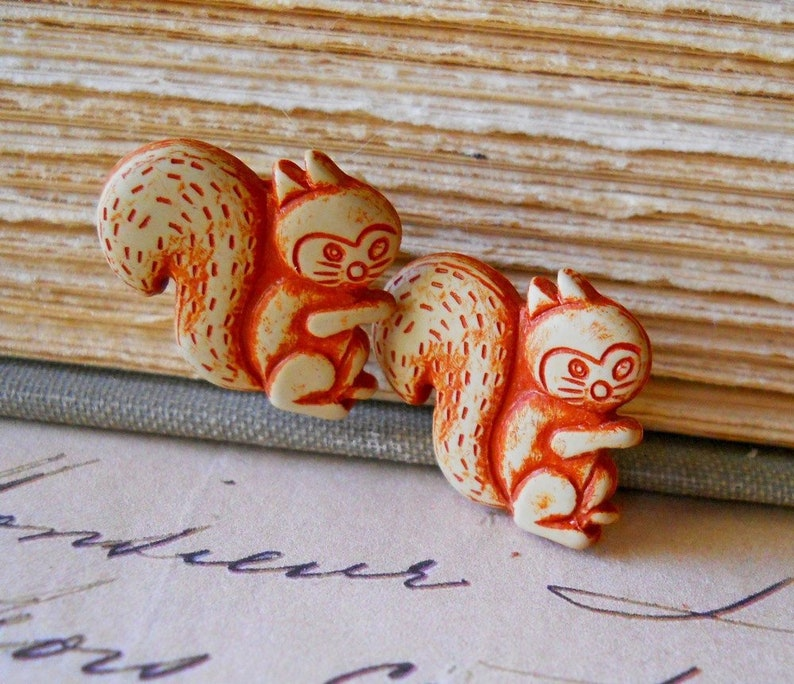 Wooden Squirrel Earrings Eco Friendly Wood Jewelry Rust image 0