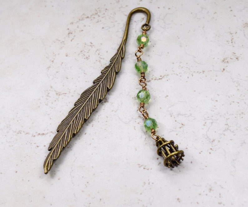 Green Birdcage Bookmark Antiqued Brass Feather Bookmark image 0