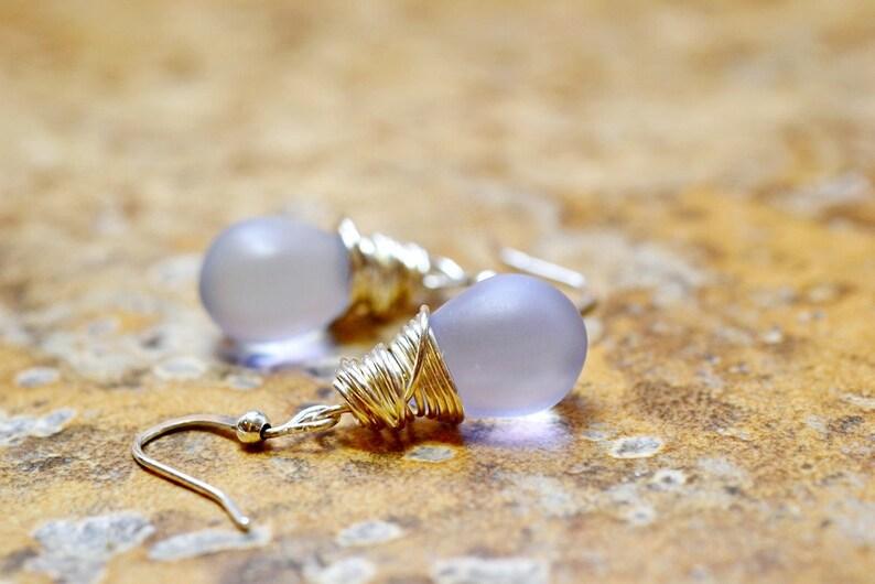 Frosted Purple Earrings Lavender Teardrop Earrings Pale image 0